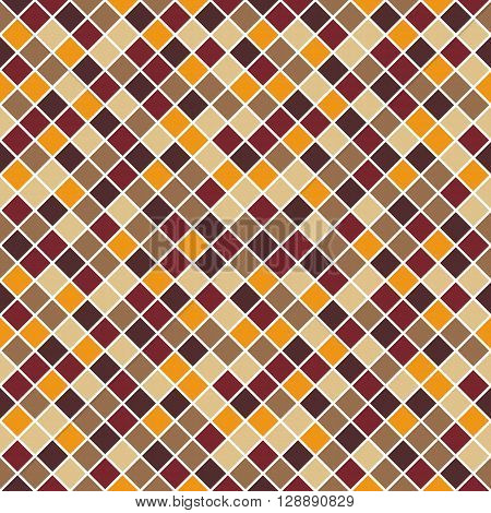 Seamless pattern made of colorful beige tan orange brown and dark red rhombuses with white lining mosaic endless texture square rhomb tile tileable muted multicolor decent unobtrusive neverending grid classic