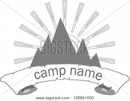 camp logo, vector, illustration, camp, logo, eps, jpeg, sun, on white shape, rays, object isolation, gray, hills, mountain, alpine, hiking, backpacking, recreation, sports, vacation, travel