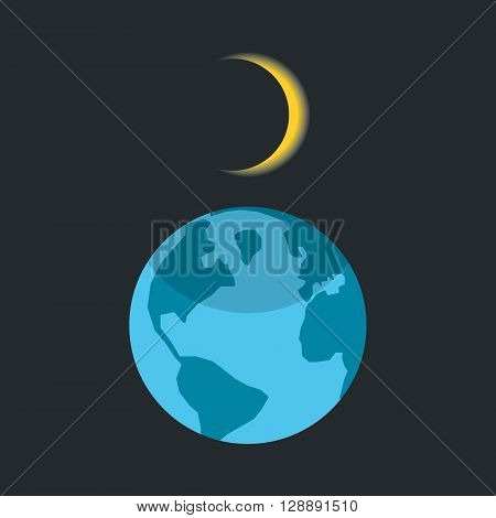 solar eclipse with shadow on planet earth. concept of astrology, astronomical picture, learning, darkening, overlap. isolated on dark background. flat style trendy modern design vector illustration