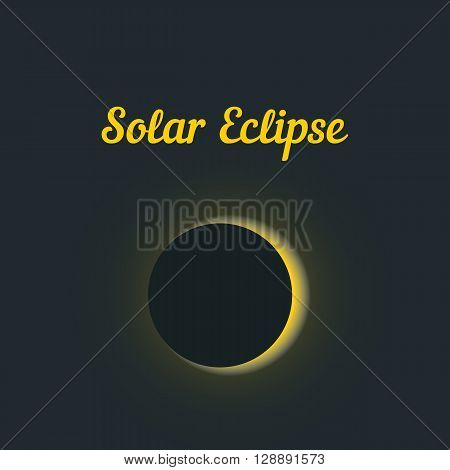 solar eclipse with yellow glow. concept of astrology, astronomical picture, learning, darkening, overlap. isolated on stylish background. flat style trendy modern design eps10 vector illustration