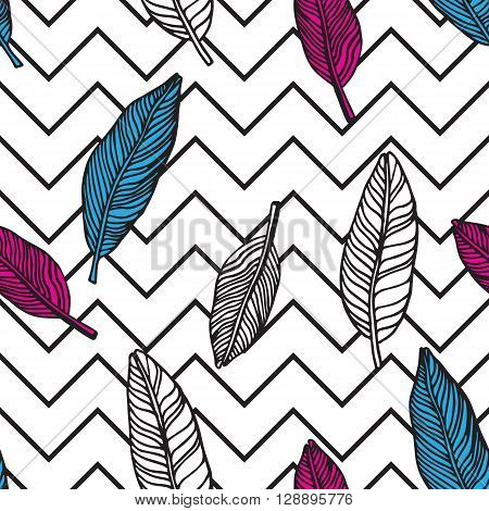 Simple Seamless Tropical Jungle Floral Pattern Background