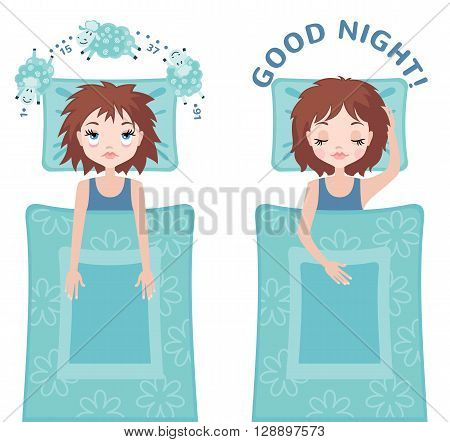 Sleepless woman character counting sheep and sleeping woman character with good dream. Insomnia concept. Vector illustration