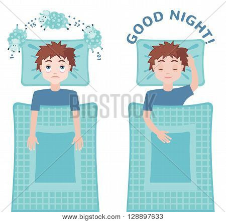 Sleepless man character counting sheep and sleeping man character with good dream. Insomnia concept. Vector illustration