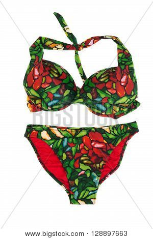 Green with red swimsuit with a pattern. Isolate on white.