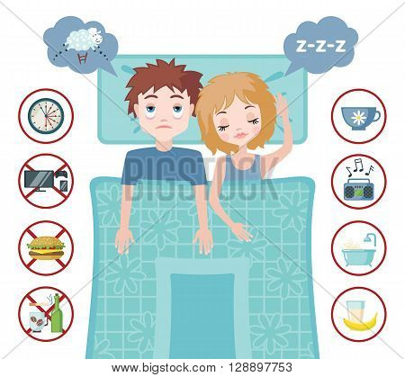 Sleepless man character counting sheep and sleeping woman character with good dream. Sleep and insomnia flat icons.  Vector illustration. Sleeping concept