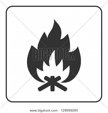 Fire campfire icon. Hot bonfire sign. Black firewood and flame silhouette isolated on white background. Drawing graphic element. Symbol of camp heat energy. Flat design concept. Vector illustration