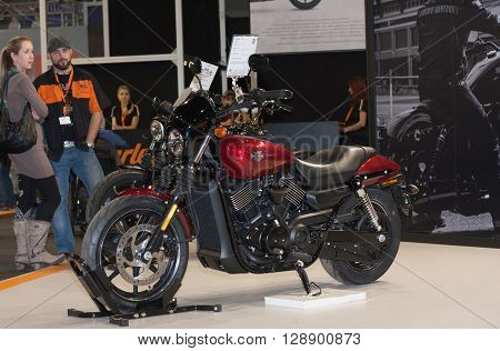BRNO, CZECH REPUBLIC-MARCH 4,2016: Motorcycle Harley Davidson Street 750 at International Fair for Motorcycles on March 4, 2016 in Brno in Czech Republic.