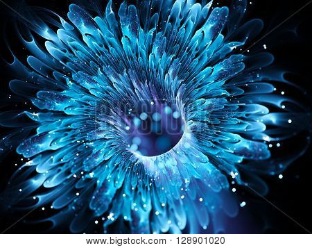 Blue magical wormhole fractal. Comupter generated abstract background