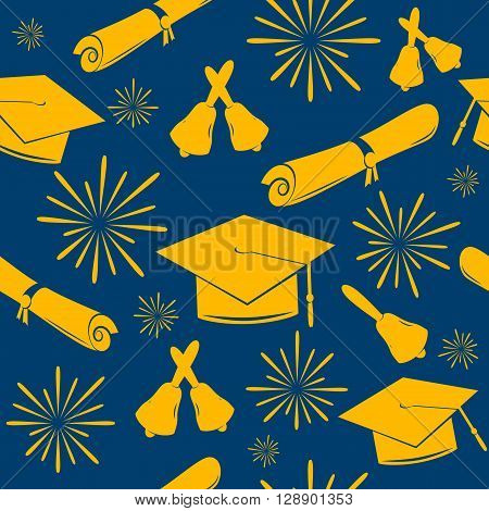 Seamless graduation backdrop of graduation caps, balloons and diplomas. Graduation pattern. Graduation celebration background. Graduation vector. Graduation day. Graduation award. Graduation hats