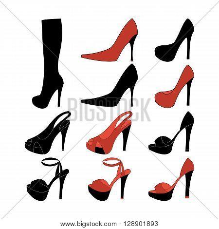 High heels illustration. Shoes illustration. Boots icon. Shoes icon. Vector illustration
