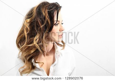 Strong healthy hair. Solar ombre, natural hairstyle long hair