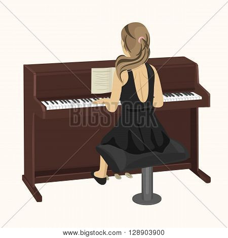 back view of young woman playing brown upright piano on white background