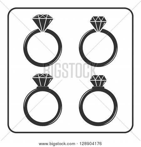 Diamond engagement ring icons set. Shiny crystal signs. Black circle silhouette isolated on white background. Flat fashion design element. Symbol engagement gift jewel expensive Vector Illustration