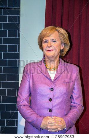 LONDON UK - JUNE 7 2015: Angela Merkel German cancelloe in the Madame Tussauds wax museum . Marie Tussaud was born as Marie Grosholtz in 1761
