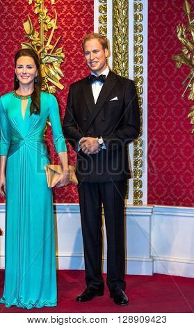 LONDON UK- JUNE 07 2015: Wax figures of Prince William and Kate Middleton are seen on display at Madame Tussauds museum