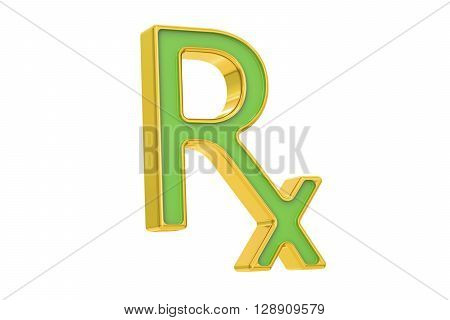 RX prescription medicine symbol 3D rendering on white