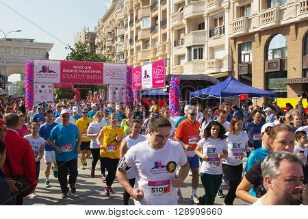 SKOPJE - MAY 08: Over 7000 Registered Runners Participate in the Skopje Marathon on May 08 2016 in Skopje Macedonia.