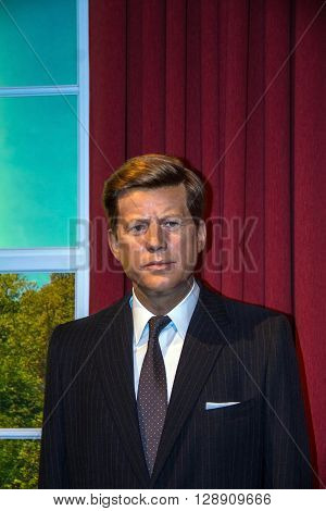 LONDON UK - JUNE 7 2015: Wax figure of John F. Kennedy former USA president in the Madame Tussauds museum. Marie Tussaud was born as Marie Grosholtz in 1761
