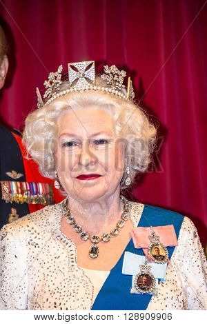 LONDON UK- JUNE 07 2015: Queen Elizabeth II At Madame Tussauds Wax Museum.