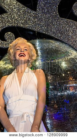 LONDON UK - JUNE 7 2015: Marilyn Monroe in her white dress Madame Tussauds wax museum in London. Marie Tussaud was born as Marie Grosholtz in 1761