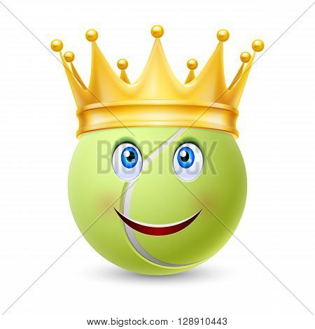 Golden crown on the ball for tennis with smiling face