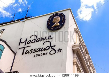 LONDON UK - JUNE 7 2015: Building detail of Madame Tussauds on Marylebone Road