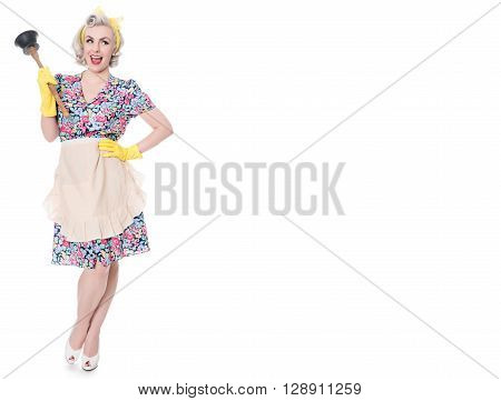 Fifties Housewife With Sink Plunger, Humorous Concept, Space For Text, Isolated On White