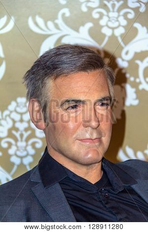 LONDON UK - JUNE 7 2015: George Clooney Madame Tussauds museum in London. Marie Tussaud was born as Marie Grosholtz in 1761