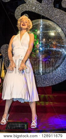 LONDON UK - JUNE 7 2015: Marilyn Monroe in her white dress Madame Tussauds museum in London. Marie Tussaud was born as Marie Grosholtz in 1761