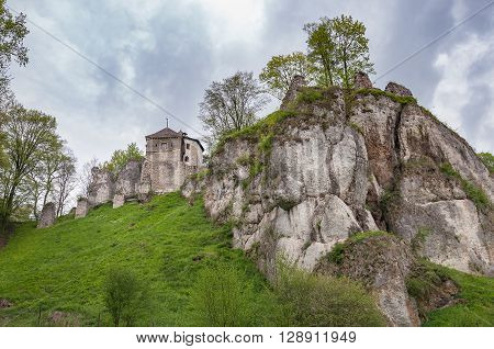 View of Ojcow Castle ruins in Ojcow National Park Poland