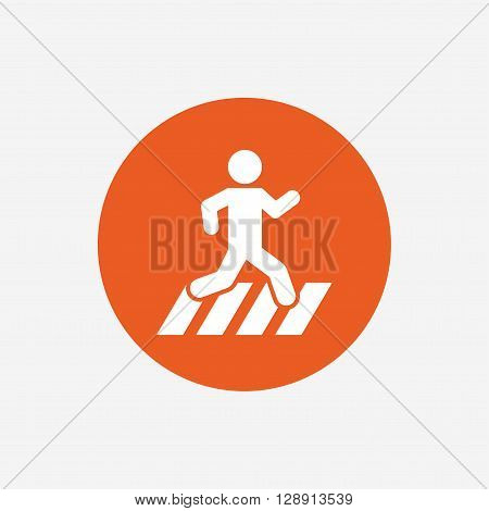 Crosswalk icon. Crossing street sign. Orange circle button with icon. Vector