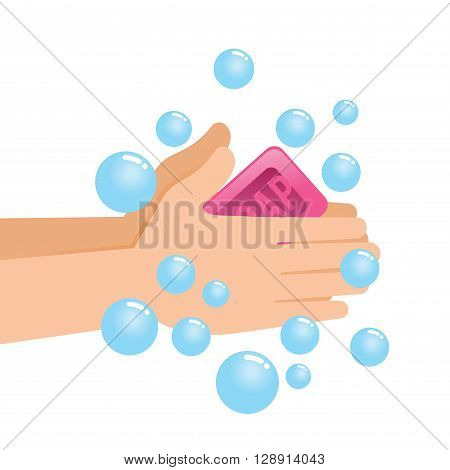 Vector stock of pair of hands washing using soap and bubbles