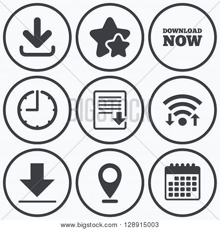 Clock, wifi and stars icons. Download now icon. Upload file document symbol. Receive data from a remote storage signs. Calendar symbol.