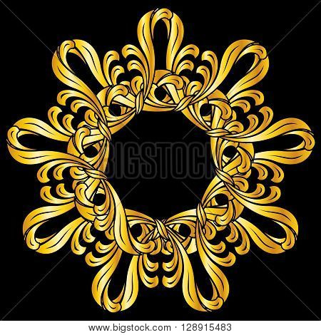 Ornate florid pattern in gold shades on black background