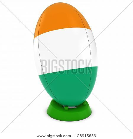 Cote D'ivoire Rugby - Ivorian Flag On Standing Rugby Ball - 3D Illustration