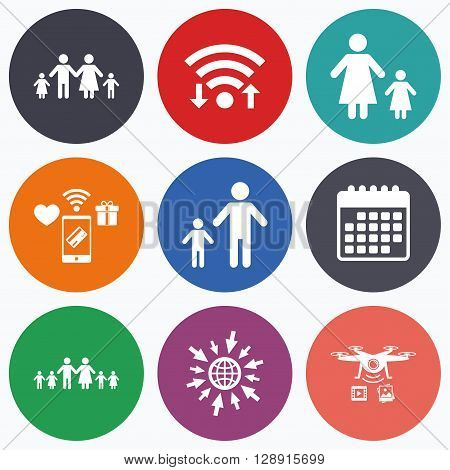 Wifi, mobile payments and drones icons. Large family with children icon. Parents and kids symbols. One-parent family signs. Mother and father divorce. Calendar symbol.