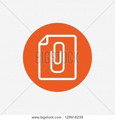 File annex icon. Paper clip symbol. Attach symbol. Orange circle button with icon. Vector