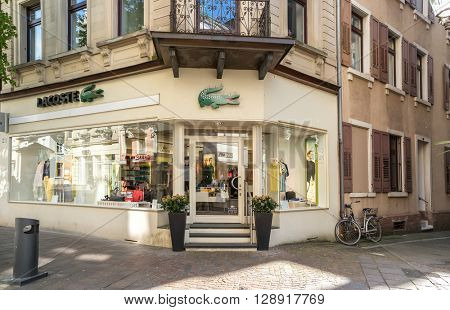 BADEN-BADEN, GERMANY  - MAY 4: Lacoste outlet. Lacoste is a French clothing company founded in 1933. Baden-Baden, May 4, 2016