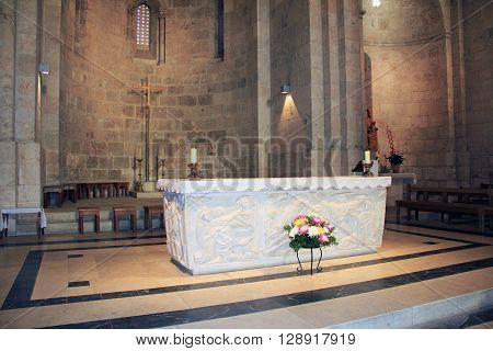 JERUSALEM, ISRAEL - OCTOBER 22, 2013: Communion table inside the church of St. Anne, a Roman Catholic church, located at the start of the Via Dolorosa in Old Jerusalem, Israel.