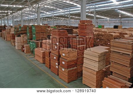 Stacks of Wood in Warehouse Wood factory