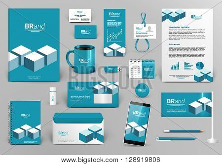 Professional blue branding design kit with cubes for real estate/investment. Corporate identity template. Business stationery mock-up. Editable vector illustration: folder, cup, etc.