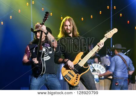 HUNTINGTON, NY-JAN 8: Musician Terry Lee Palmer (L) and bassist Lee Branson perform onstage during the