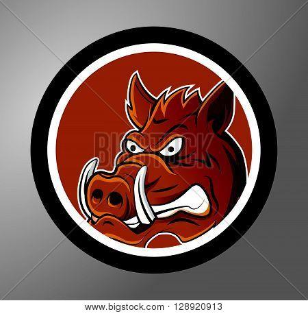 Warthog Circle sticker .eps10 editable vector illustration design