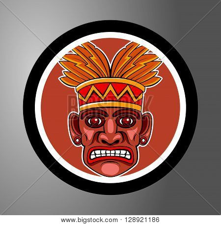 Tiki Circle sticker .eps10 editable vector illustration design