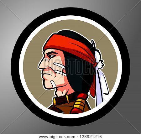 Apache Circle sticker .eps10 editable vector illustration design