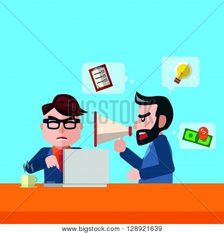 Businessman boss blame flat color cartoon illustration .eps10 editable vector illustration design