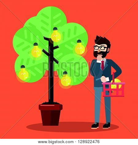 Business man picking idea at tree of idea lamp .eps10 editable vector illustration design