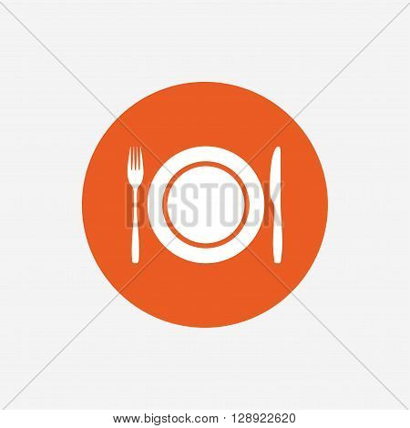 Plate dish with fork and knife. Eat sign icon. Cutlery etiquette rules symbol. Orange circle button with icon. Vector