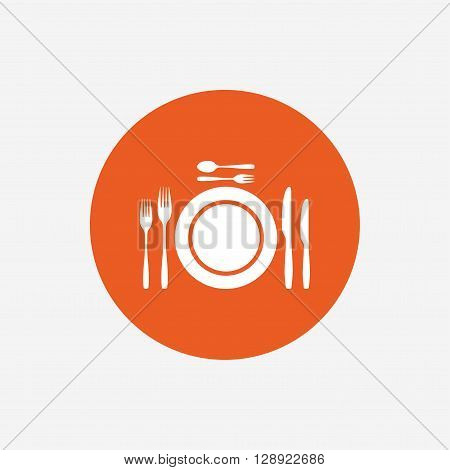 Plate dish with forks and knifes. Dessert trident fork with teaspoon. Eat sign icon. Cutlery etiquette rules symbol. Orange circle button with icon. Vector