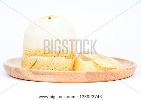 Peeled Chinese pear on white background, stock photo